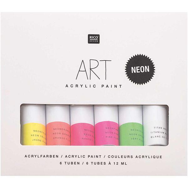 Rico Design - ART Künstler Acrylfarben-Set Neon 6x12ml